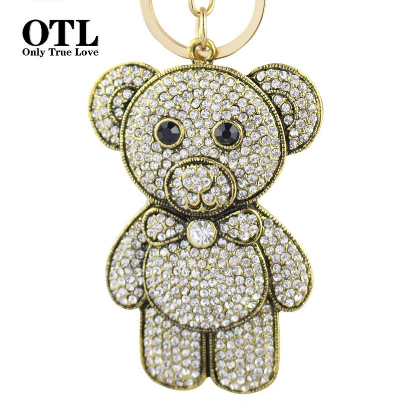 Super Cute Fashion Bear Keychain Real Excelent Quality With Imitation Diamond For Women Key Ring Bag Charm