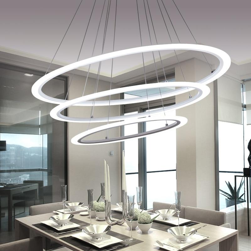 sala da pranzo moderna led rotonda del pendente di illuminazione led ovale lampada a sospensione lusso