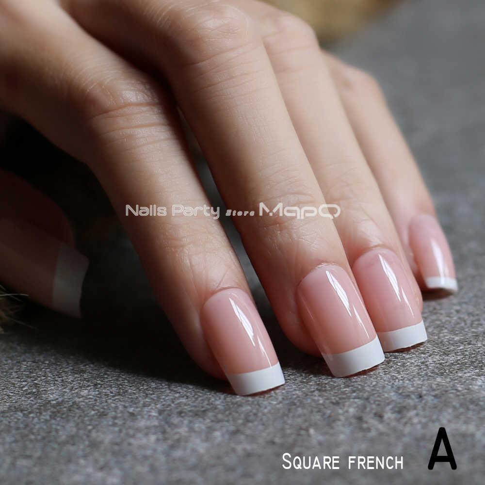 Francuski Gradient Stiletto Naturalne Paznokcie Trumna Nude Sredni