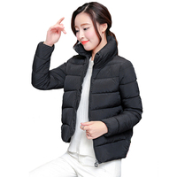 2017 Stand Collar Winter Women Short Jacket Warm Thicken Zipper Solid Color Coat Ladies Cotton Padded