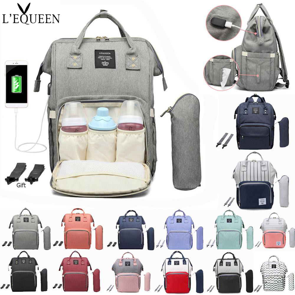 LEQUEEN USB Maternity Waterproof Diaper Bag USB Charging Large Mummy Nursing Backpacks Nappy Bag Brand Large Capacity Backpack