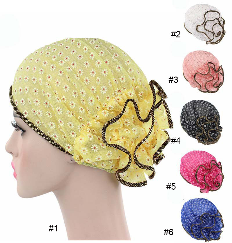 10pcs/lot Lace fashion Women's Muslim Hats Printed Turban Turbante India Skullies Beanies Beanie Indian hat Stretch Head wraps pastoralism and agriculture pennar basin india