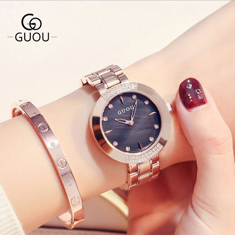 GUOU 2018 New Ladies Watch Women's Watches Rose Gold Bracelet Wrist Watches Luxury Diamond Clock Women relogio feminino saat guou diamond women s watches rose gold fashion bracelet ladies wrist watch for women watches clock reloj mujer saat