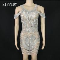Серебряные стразы пикантные Сетчатое платье для ночного клуба вечерние See Through Sparkly наряд Для женщин певица одежда отпраздновать День рожде