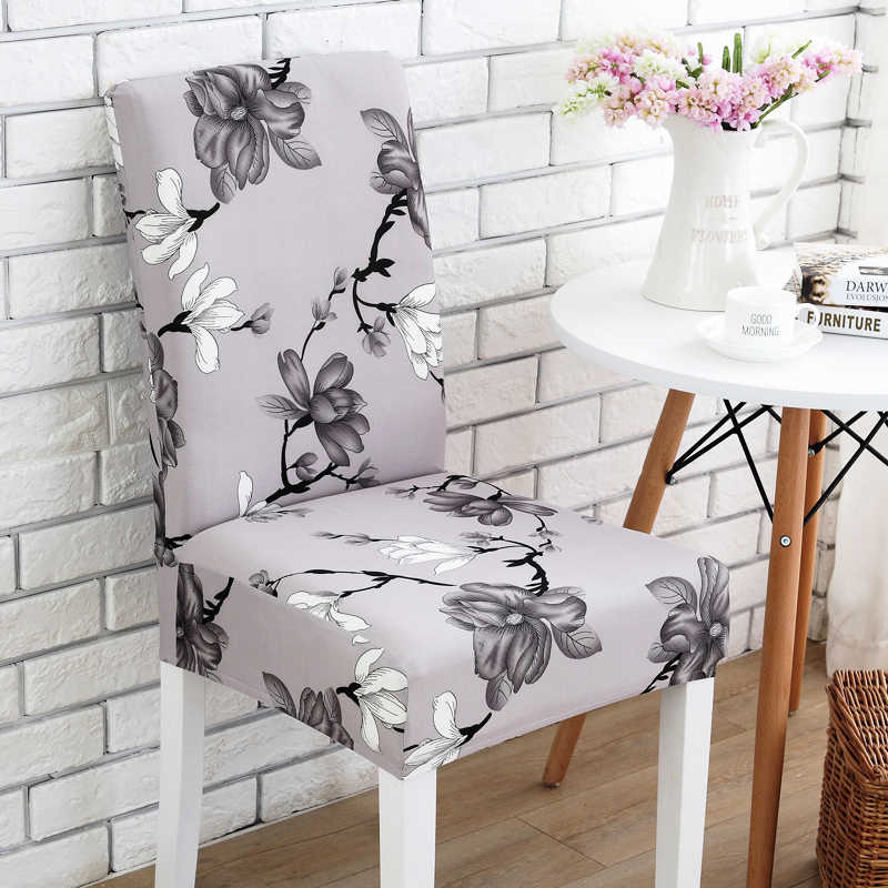 Grey flower printing Chair Cover Washable Removable big elastic seat Covers Slipcovers Stretch for banquet hotel arm wedding31