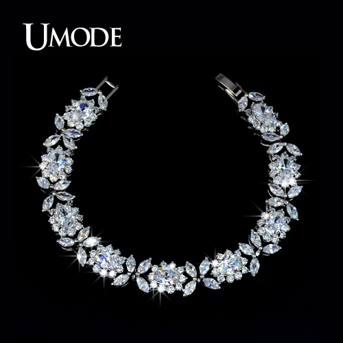 font b UMODE b font Bijoux Trendy Rhodium plated Top Grade Multishaped AAA CZ Tennis