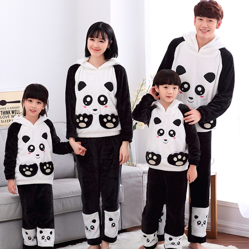 Autumn winter Coral velvet Pajamas Cartoon Red Panda Parent child Pajamas Hhigh Quality Flannel Bathrobe Keep