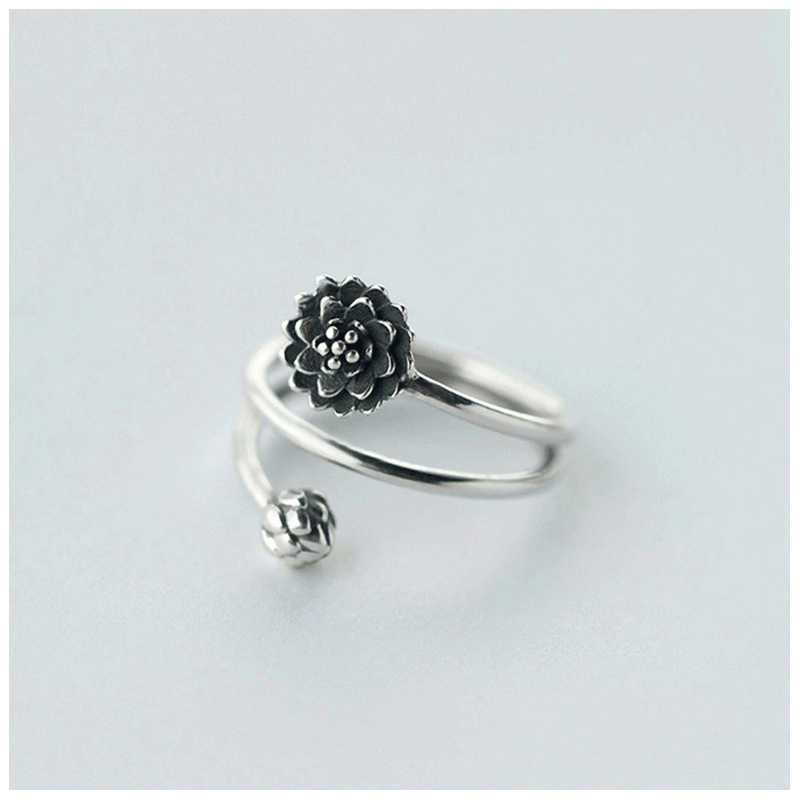 DR S925 Silver Ring Fashion National Retro Wind Thai Silver Three Layer Lotus Bud  925 Sterling Silver Open Rings for Women