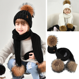 Image 2 - Furtalk Kids Beanie Hat and Scarf Set Girl Boy pompom Hat Scarf Child Thick Warm Winter Knit Hats with Raccoon Fur Ball Age 2 14
