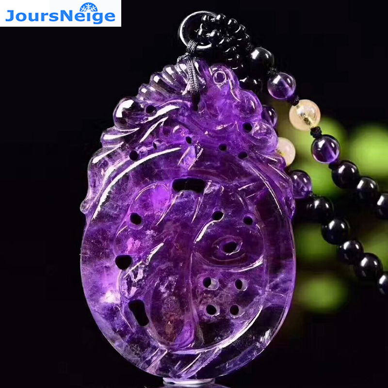 Wholesale Purple Natural Crystal Pendant Ruyi Fu Pendant DIY Beads Sweater Chain Necklace Lucky for Women Gift Crystal Jewelry цена