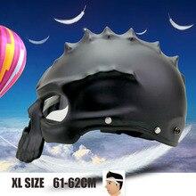 XL Size Half Face Helmet Dual Use Skull Motorcycle Retro Capacete Casco Motorbike Matte Black free shipping
