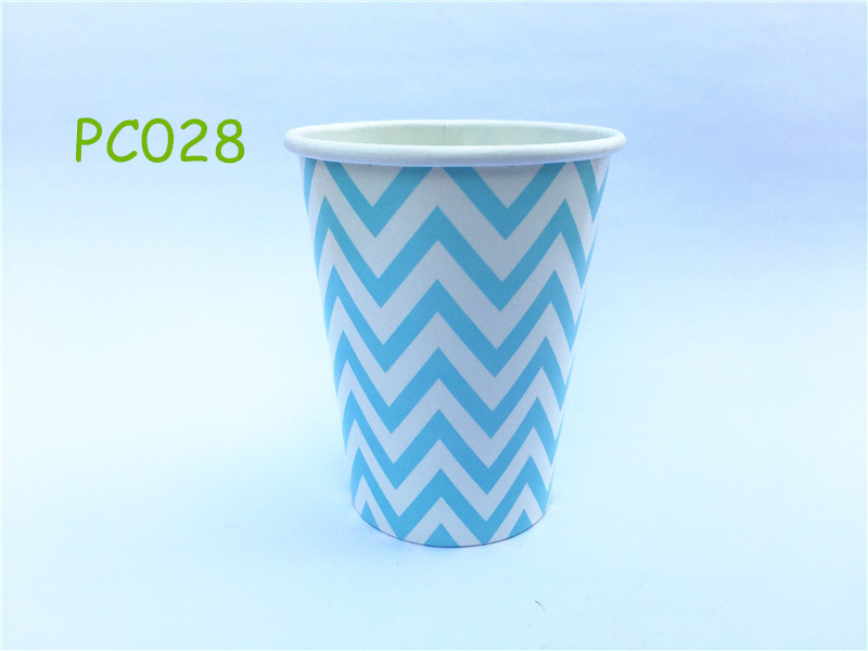 12pcs/lot Baby <font><b>Blue</b></font> Chevron Disposable 9OZ Paper <font><b>Party</b></font> Drinking <font><b>Cups</b></font> Baby Shower Birthday <font><b>Party</b></font> Tableware Supplies