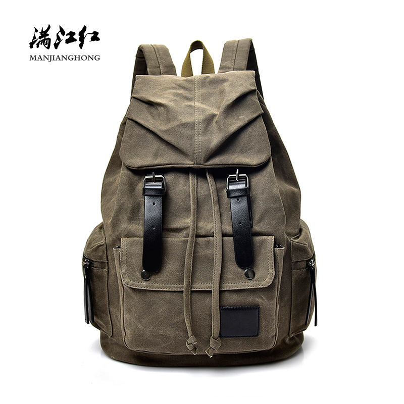 купить Vintage Canvas Drawstring Travel Backpack Men Fashion Male Laptop Backpack 15 Inch Rucksack Casual School Bags For Boys WD012 недорого