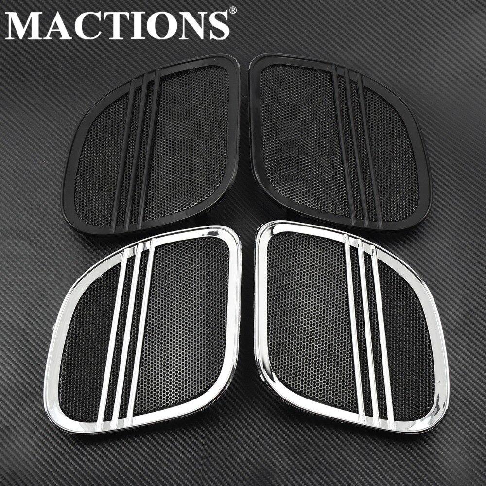 Motorcycle Black Chrome Tri Line Speaker Grills Cover Trim Mesh For Harley Touring Road Glide FLTRX