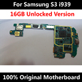 Motherboard telefone oficial original para samsung galaxy s3 i939 16 gb desbloqueado com chips imei sistema operacional inteiro mainboard uso em todo o mundo