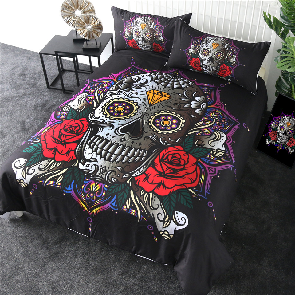 Dropshipping Sugar Skull Bedding Set Red Rose Duvet Cover Diamond Gothic Home Textiles Mandala Lotus Flower Bedclothes 3-Piece