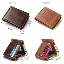 Trifold Design Card Holder Genuine Leather Men Wallet
