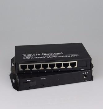 1 port 1000Mbps SC fiber and 8 port RJ45 fast Ethernet fiber Switch single-mode fiber media converter 20KM 1
