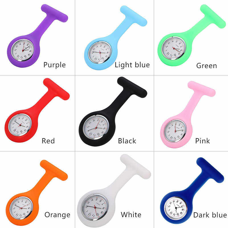 DICTAC Multi Functional  Nurse Pocket Watch Silicone Red Clock Stopwatch Casual Fashion T-shaped Nurse Silicone Watch