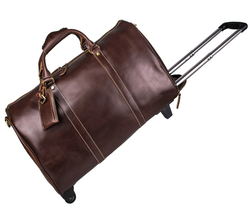 db76d86d2310 Baigio Men s Travel Bag Leather Overnight Travel Rolling Duffle Bag Vintage  Brown Designer Hand Luggage Large Shoulder Bag-in Travel Bags from Luggage  ...