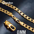 """18K Real Gold Plated Necklace With """"18K"""" Stamp Men Jewelry Wholesale New Trendy  8MM Wide Snake Chain Necklace X180"""