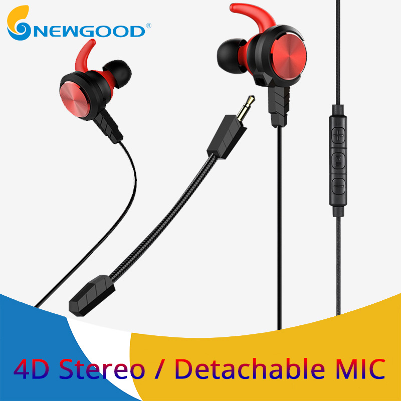 NEWGOOD Wired Earphone Bass Stereo Gaming Headset With Microphone PC Game Earphones With Detachable Mic For Computer PS4 3 5mm wired headphone game gaming headphones headset with microphone mic earphone for ps4 sony playstation 4 pc computer hot