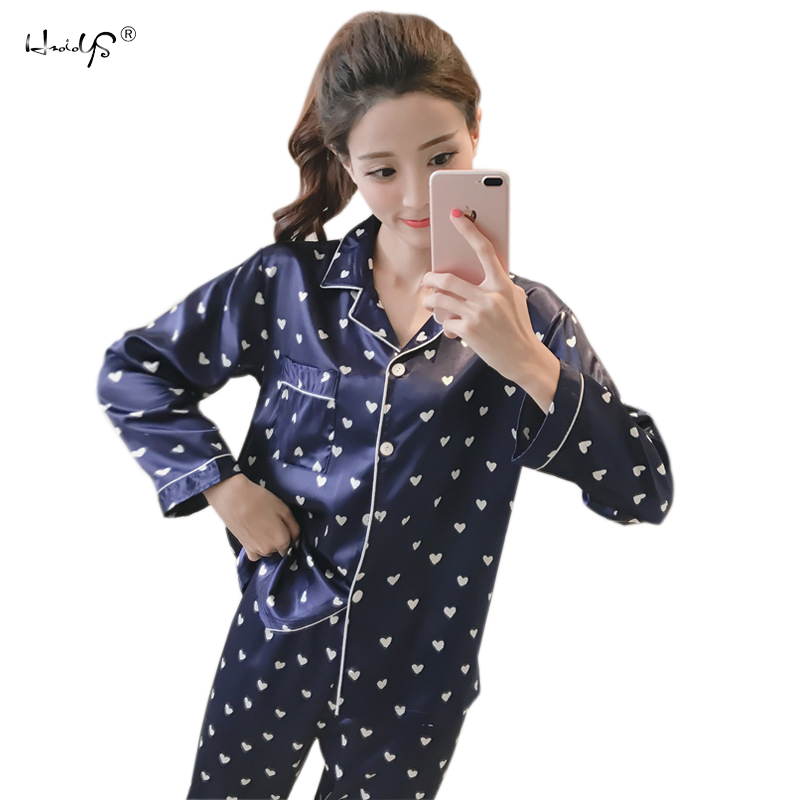 Women Sexy Silk Satin Lingerie Set Long Sleeve Pyjama Femme Cartoon Pijama Sets V-neck Sleepwear Nightgown Girlfriend Gifts