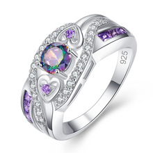 Huitan Colorful Crystal Women Ring Two Color CZ Romantic Gift For Heart Shaped Fashion Jewelry With Size 6-10