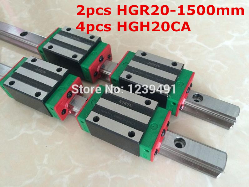 2pcs HIWIN linear guide HGR20 - 1500mm  with 4pcs linear carriage HGH20CA CNC parts free shipping to argentina 2 pcs hgr25 3000mm and hgw25c 4pcs hiwin from taiwan linear guide rail
