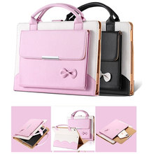 XINGDUO For Apple New iPad 9.7inch 2017 & 2018 PU leather stand Bow handbag Smart Cover Case for A1822 A1823 A1893