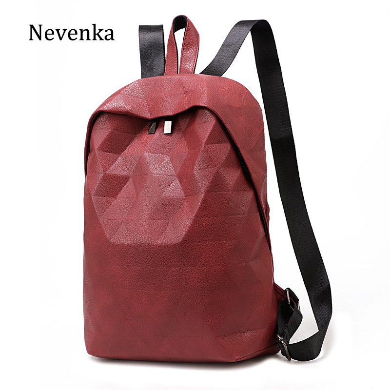 Nevenka Women Geometric Hologram Backpack PU Leather school bags Travel Backpacks For Teenage Girl Large Capacity sac a dos A4