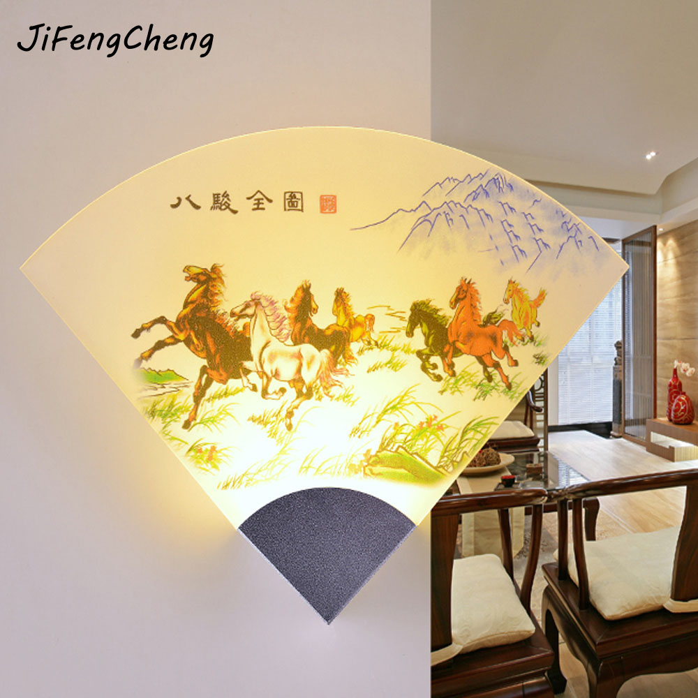 Chinese Style Vintage Wall Lamp 110v 220v Ancient Painting Fan Home ...
