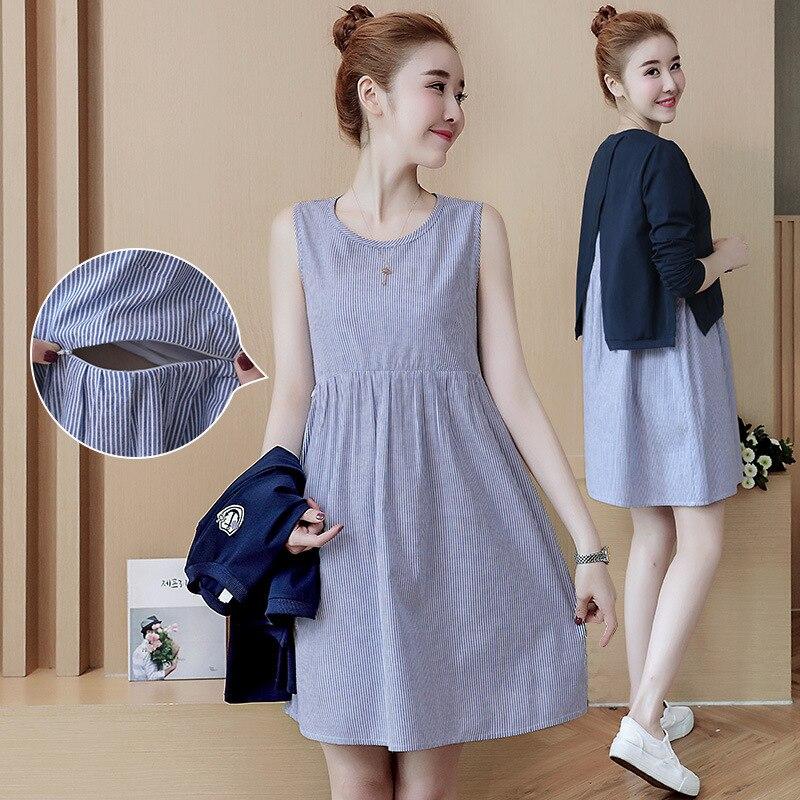 Maternity Clothing Breast Feeding Maternity Dresses Clothes For Pregnant Women Nursing Clothes 2Pcs Set Dresses H57