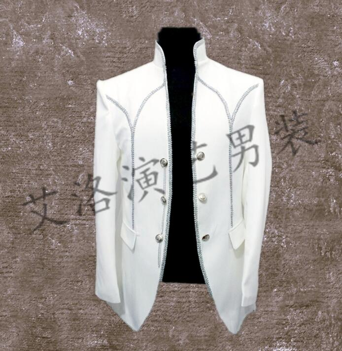White Stand Collar Men Suits Designs Stage Costumes For Singers Men Married Blazer Dance Clothes Jacket Style Dress Punk Rock