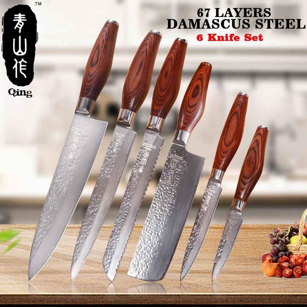 QING 67 Couches VG10 Outils de Cuisson En Acier Manche En Bois De Couleur Japonais Damas Couteaux 6 Pièces Ensemble De Couteau De Cuisine 3.5 5 7 8 8 8