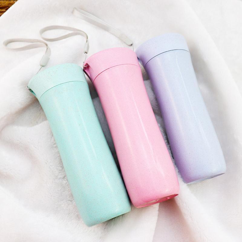 300ml Water Bottle Wheat Straw Double Layers Heat Insulation Tea bottle Coffee Milk Hand Water bottle student Birthday Gift V1