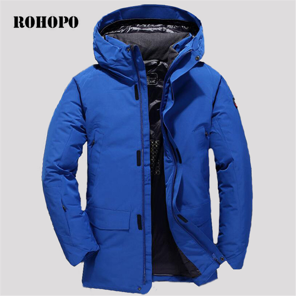 ROHOPO Winter Casual   down     coat  ,detachable hat Man straight military moorcycle parka   coats  ,quality male waterproof   down     coats