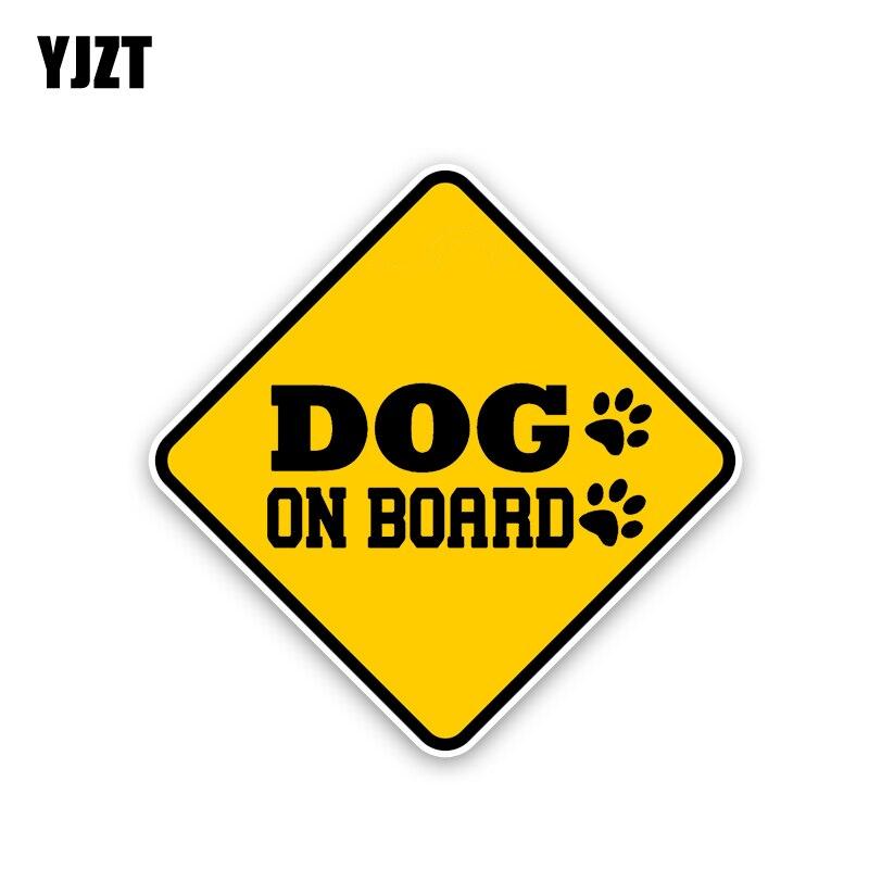 YJZT 15.9CM*15.9CM DOG ON BOARD Decal Warning PVC Car Sticker 12-40351
