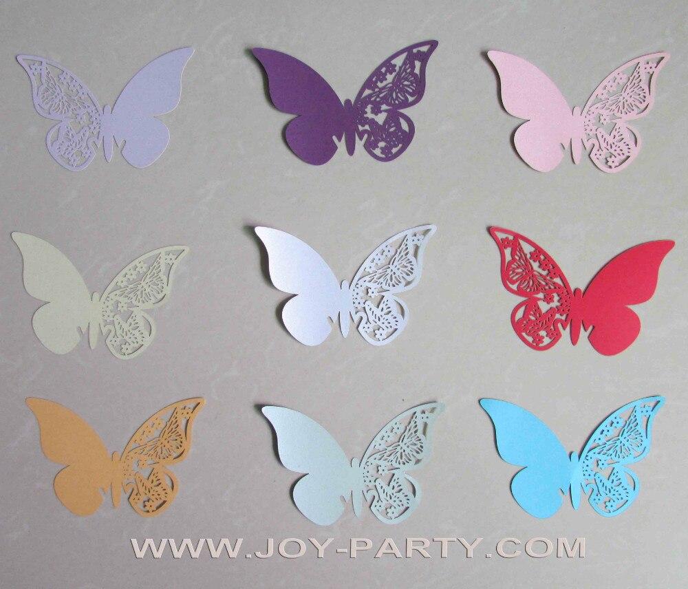 unids mariposa taza de papel tarjeta de nombre tarjeta del lugar del vidrio de vino