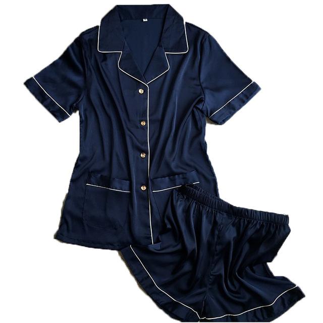 Calças curtas + tops de manga curta conjuntos de pijama rosa azul cor branca de cetim de seda pijamas pijamas das mulheres pijamas de verão 2 pçs/set