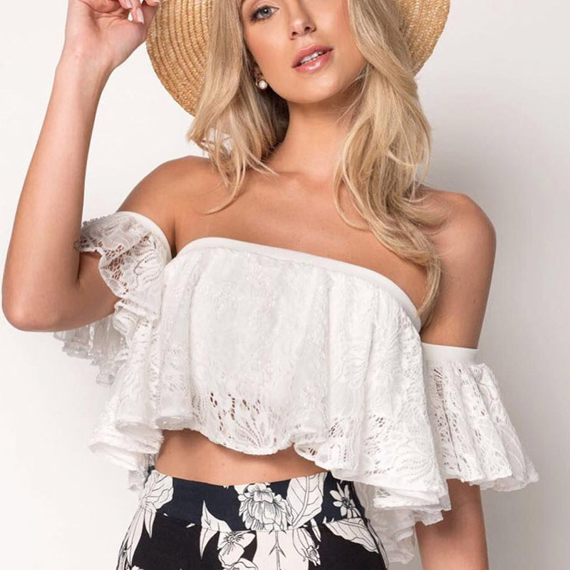 2018 summer off shoulder white lace crop top women sexy strapless hollow out short tank top female ruffle camisole