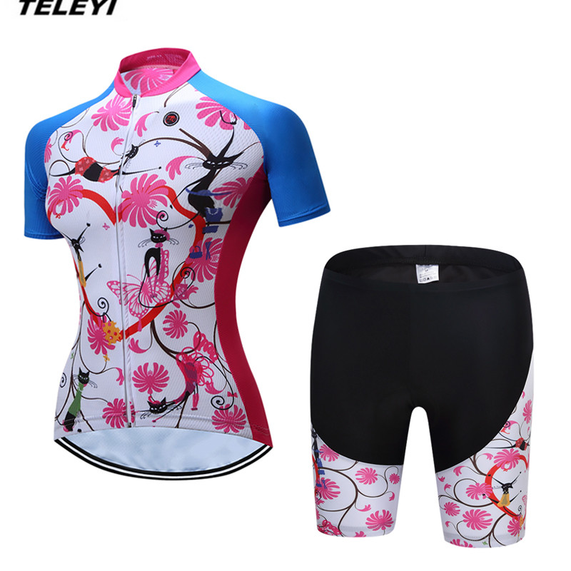 Coloful TELEYI MTB Bike Jersey shorts sets Ropa Ciclismo Jersey Women Cycling Clothing Girl bicycle Top Bottom Padded Female in Cycling Sets from Sports Entertainment