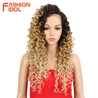 FASHION IDOL 26 Kinky Curly Wig Side Lace Front Wig 150 Density Ombre To Blonde Three Tone Colors Long Synthetic Wigs For Women
