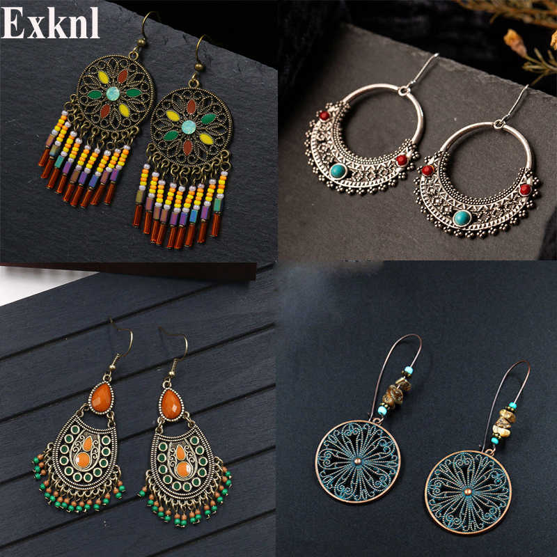 Exknl Vintage Ethnic Dangle Drop Earrings for Women Female Anniversary Bridal Party Wedding Jewelry Ornaments Accessories