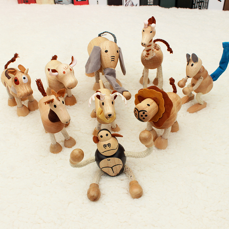Brake-Toys Simulated-Model of Mini-Dolls Wood Desktop Three-Dimensional-Wildlife Children