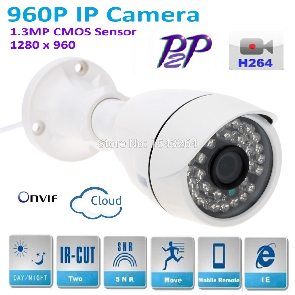 New 1280*960P H.264 1.3 Megapixel HD ONVIF P2P IP Camera Warterproof IP65 Outdoor IR-CUT Night Vision Network bullet Camera new type1280 720p h 264 1 0 megapixel hd onvif ip camera p2p indoor 24pcs ir leds ir cut night vision network dome camera