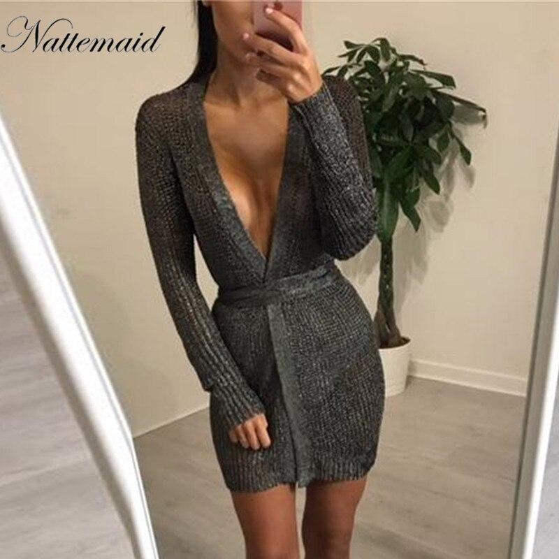 NATTEMAID 2018 profonde V Cou À Manches Longues Mini Robes sexy maille tricotée Partie Discothèque Robe femmes Vintage Élégant Porter robes