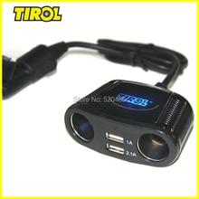 T16248aบุหรี่S Plitterซ็อกเก็ตแบบDual USB 2.1A + 150วัตต์คู่S Ocketsรถยนต์ชาร์จสำหรับiPadออโต้เคเบิ้ล/อิเล็กทรอนิกส์/อะแดปเตอร์