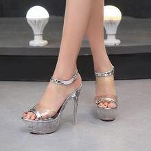 7016ac600 Verão a Europa e os Estados Unidos nova 14 cm de salto alto para serviços  de banquete sensuais sandálias sapatos de cristal das .