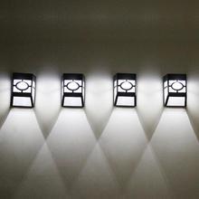 4 pcs/lot 2leds Lumière Solaire Lumière Solaire Puissance Lampe Murale Éclairage Lampe Solaire pour Jardin Extérieur Imperméable Rue Jardin Terrasse Voie